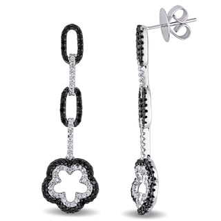 Miadora Signature Collection 18k Gold 1 1/3ct TDW Black and White Diamond Earrings
