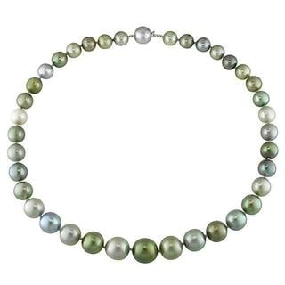 Miadora Signature Collection 14k White Gold Tahitian Pearl and Diamond Necklace (10-13 mm)