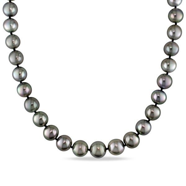 Miadora 14k White Gold Black Tahitian Pearl and Diamond Necklace (10-13 mm)