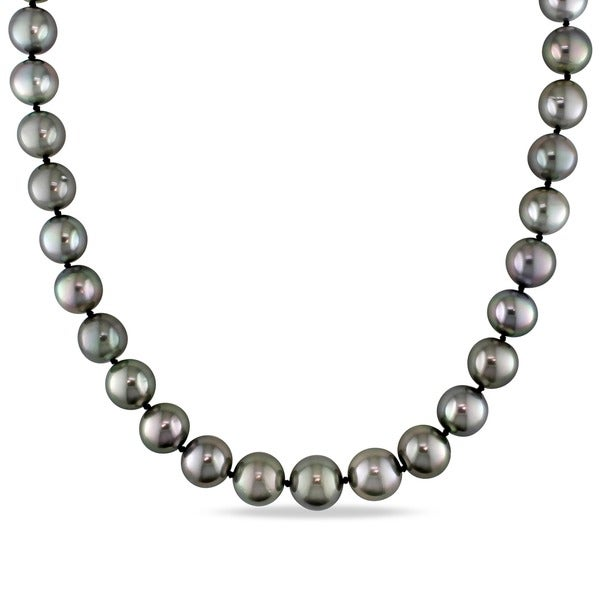 Miadora 14k White Gold Black Tahitian Pearl and Diamond Necklace (10-13 mm)