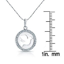 Victoria Kay Sterling Silver 1/8ct TDW Diamond Dove Necklace - Thumbnail 2