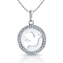 Victoria Kay Sterling Silver 1/8ct TDW Diamond Dove Necklace (J, I2-I3)
