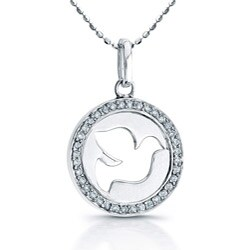 Victoria Kay Sterling Silver 1/8ct TDW Diamond Dove Necklace