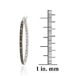 DB Designs Sterling Silver 1/10ct TDW Brown Diamond Hoop Earrings - Thumbnail 2