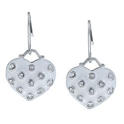 La Preciosa Sterling Silver White Enamel and Crystal Dangling Heart Earrings