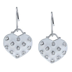 La Preciosa Sterling Silver White Enamel and Crystal Dangling Heart Earrings