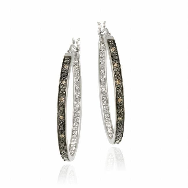 DB Designs Sterling Silver 1/10 Carat TDW Brown Diamond Hoop Earrings