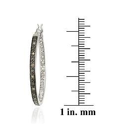 DB Designs Sterling Silver 1/10 Carat TDW Brown Diamond Hoop Earrings - Thumbnail 2