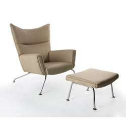 Wool Wing Chair and Ottoman - Thumbnail 1