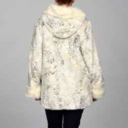 Women's Faux Fur Hooded Coat - Thumbnail 1