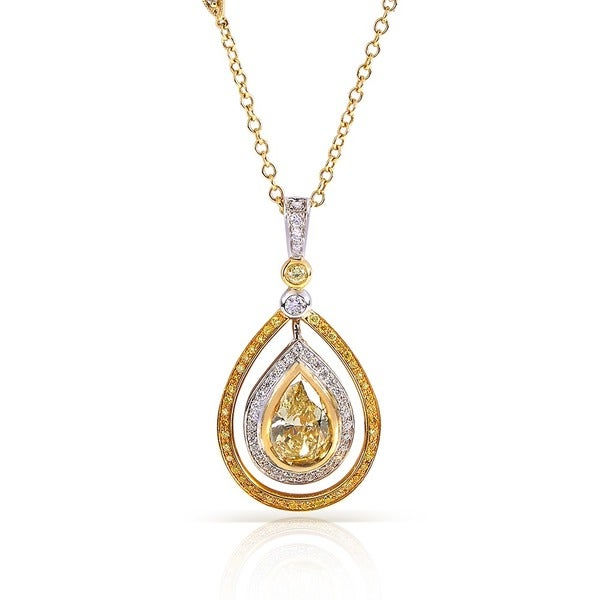 Annello by Kobelli 18k Gold 2 1/6ct TDW Certified Fancy Yellow Diamond Necklace (H-I, SI1