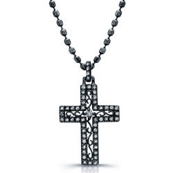 Victoria Kay Black Rhodium Silver 1/4ct TDW Diamond Cross Necklace (J, I2-I3)