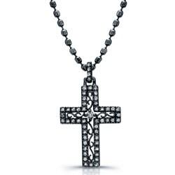 Victoria Kay Black Rhodium Silver 1/4ct TDW Diamond Cross Necklace
