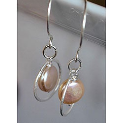 Silver and Peach Pearl Circle Dangle Earrings