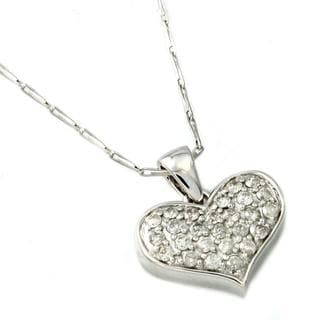 Beverly Hills Charm 14k White Gold 1/2ct TDW Diamond Heart Necklace