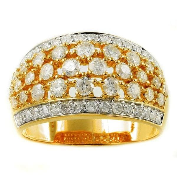 Beverly Hills Charm 14k Yellow Gold 1 7/8ct TDW Diamond Dome Ring (H-I, I1-I2)