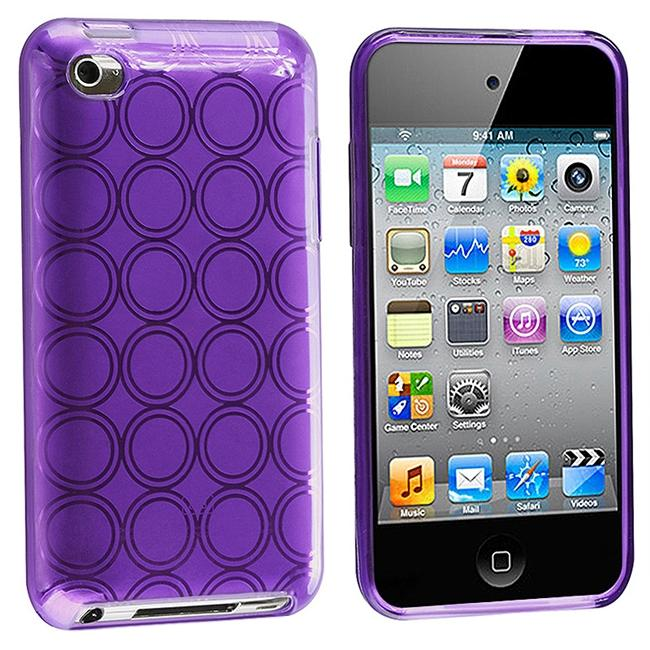 Clear Dark Purple Circle TPU Rubber Case for Apple iPod Touch