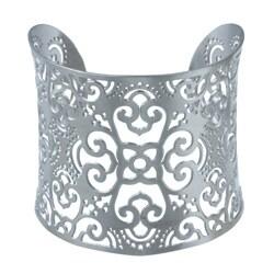 Kabella Stainless Steel Floral Design Filigree Cuff Bracelet