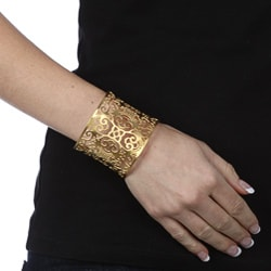 Thumbnail 3, Kabella Yellow Ion-plated Stainless Steel Floral Design Filigree Cuff Bracelet. Changes active main hero.