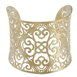Thumbnail 1, Kabella Yellow Ion-plated Stainless Steel Floral Design Filigree Cuff Bracelet.