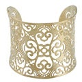 Kabella Yellow Ion-plated Stainless Steel Floral Design Filigree Cuff Bracelet