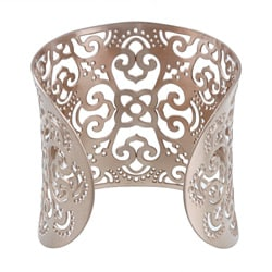 Kabella Rosetone Ion-plated Stainless Steel Floral Filigree Cuff Bracelet