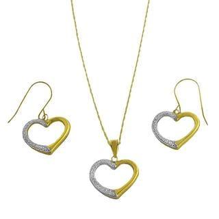 Fremada 10k Two-tone Gold Open Heart Jewelry Set