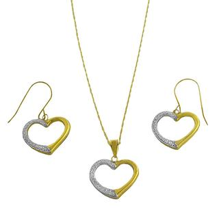 Fremada 10k Two-tone Gold Open Heart Jewelry Set