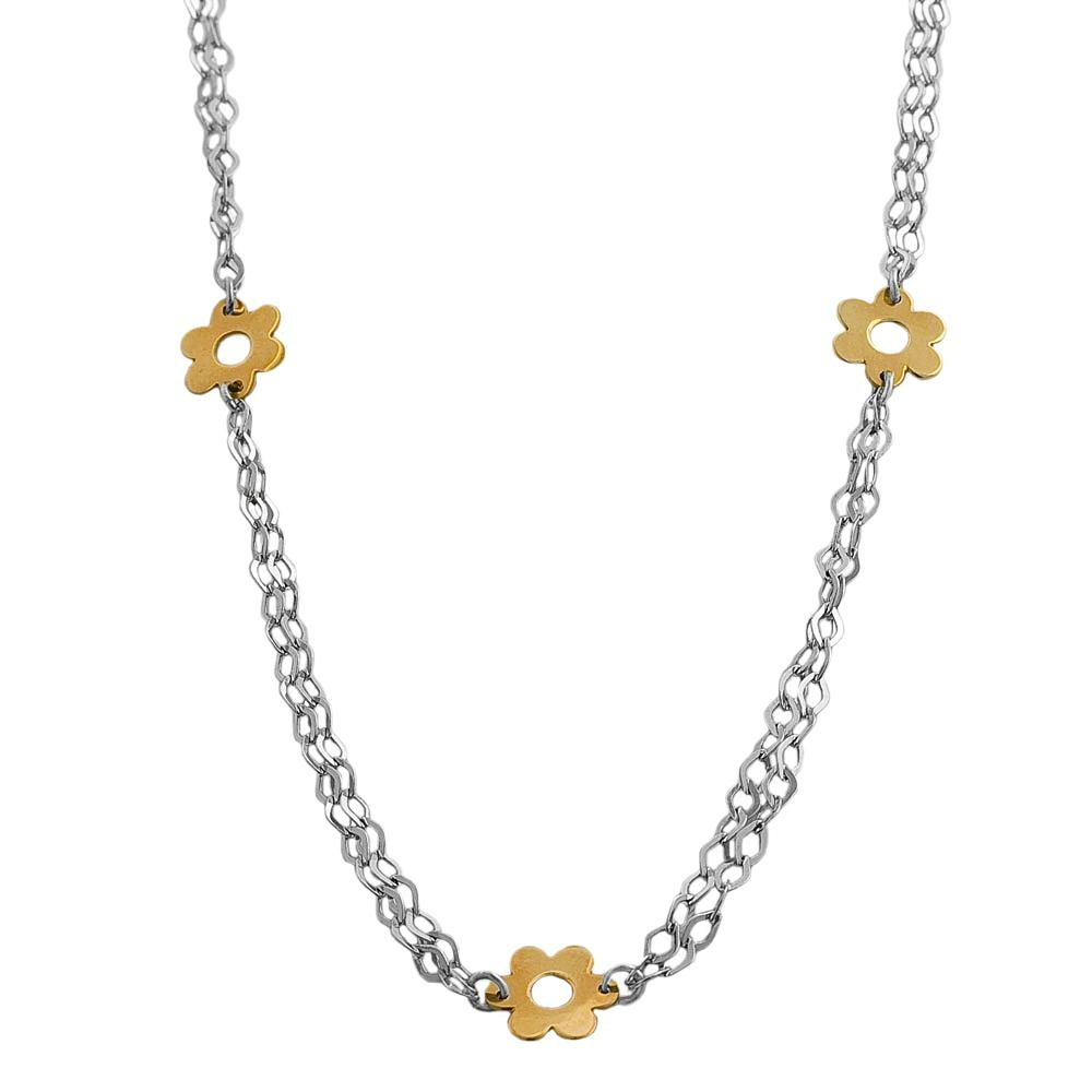Fremada 14k Two-tone Gold 2-strand Fiore Station 17-inch Necklace