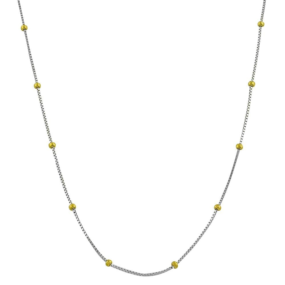 Fremada 14k Two-tone Gold Ball Station 18-inch Box Chain Necklace