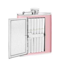 Pink 6-oz Stainless Steel Leather Flask and Cigarette Case Combo - Thumbnail 1