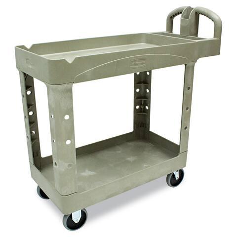 Rubbermaid Beige Commercial Heavy-Duty Two-Shelf Utility Cart
