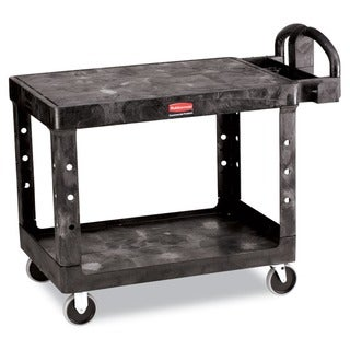 Rubbermaid Black Commercial Flat Shelf Utility 2-Shelf Cart