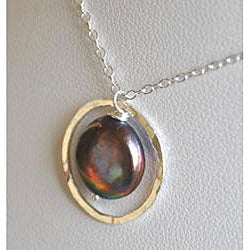 Silver and Peacock Pearl Circle Pendant Necklace - Thumbnail 1