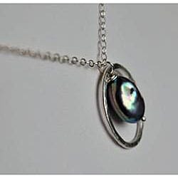 Silver and Grey Pearl Circle Pendant Necklace