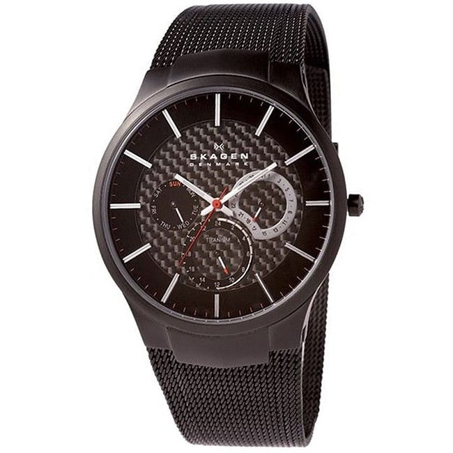 Skagen Men's Black Titanium Multifunction Mesh Watch, Siz...