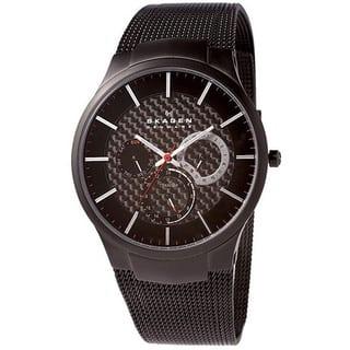 Skagen Men's Black Titanium Multifunction Mesh Watch|https://ak1.ostkcdn.com/images/products/5472585/P13260842.jpg?impolicy=medium