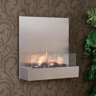 Thumbnail 1, Tate Stainless Steel/ Glass Wall-mount Fireplace.