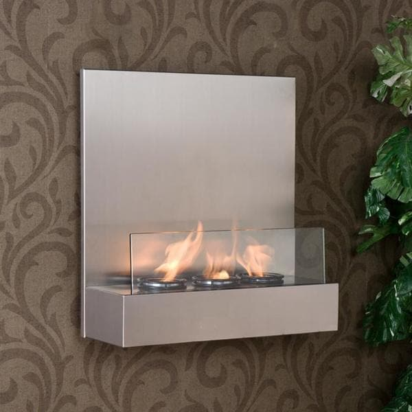 Tate Stainless Steel/ Glass Wall-mount Fireplace - Free Shipping ...