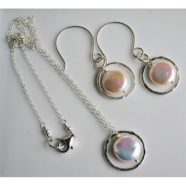 Silver and White Coin Pearl Necklace and Earring Set