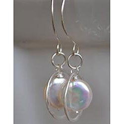 Silver and White Coin Pearl Necklace and Earring Set - Thumbnail 1