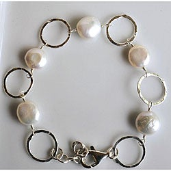 Silver and White Coin Pearl Circle Link Bracelet