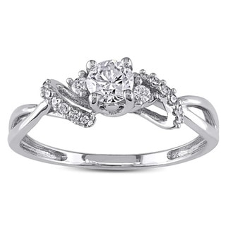 Miadora 10k White Gold 3/8ct TDW Diamond Engagement Ring