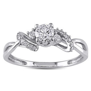Miadora 10k White Gold 3/8ct TDW Diamond Engagement Ring