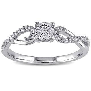 Miadora 10k White Gold 3/8ct TDW Diamond Ring