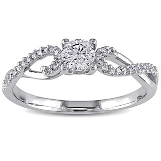 Miadora 10k White Gold 3/8ct TDW Diamond Ring
