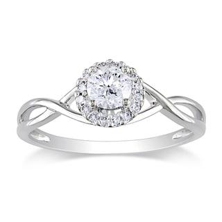 Miadora 10k White Gold 3/8ct TDW Diamond Engagement Ring (G-H, I2-I3)