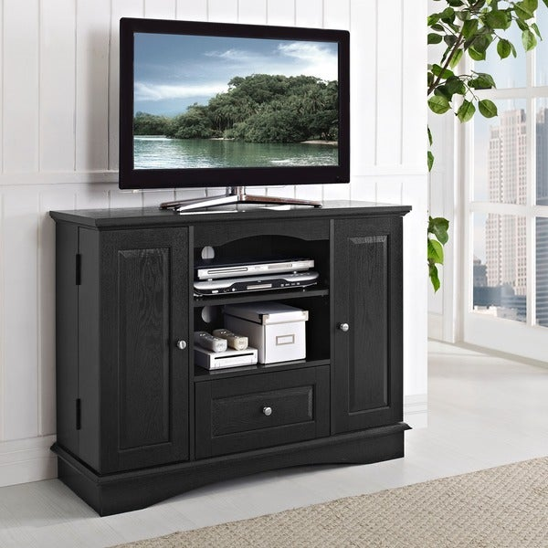 Black Highboy 42-inch Wood TV Stand