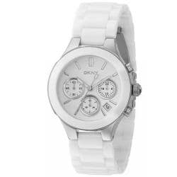 DKNY Women's White Chronograph Ceramic Bracelet Watch|https://ak1.ostkcdn.com/images/products/5473079/72/904/DKNY-Womens-White-Chronograph-Ceramic-Bracelet-Watch-P13261217.jpg?impolicy=medium
