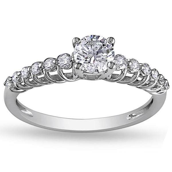 Miadora Signature Collection 14k White Gold 3/4ct TDW Diamond Engagement Ring (G-H, I1-I2)
